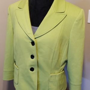 Tahari green blazer black stitching detail pockets